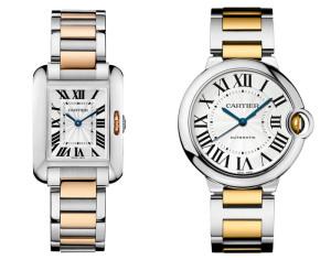 золотые наручные часы Cartier