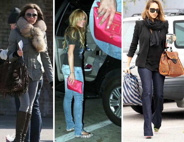 известные актрисы с сумкой Prada