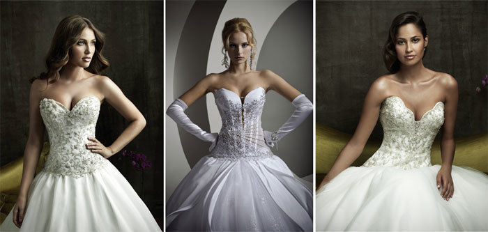 пышные свадебные платья со стразами Swarovski на корсете