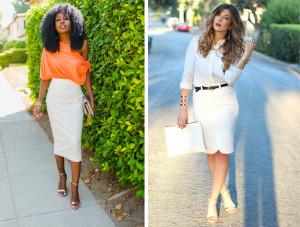 белая юбка-карандаш