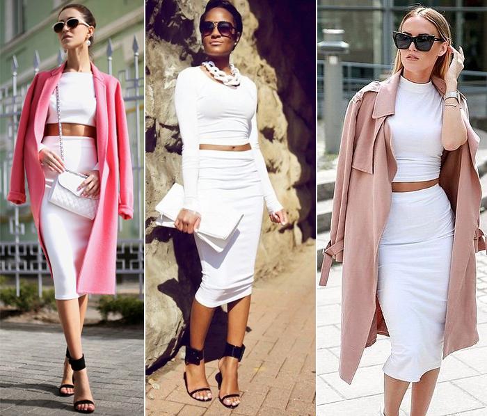 костюм-двойка из белой юбки и белой блузки