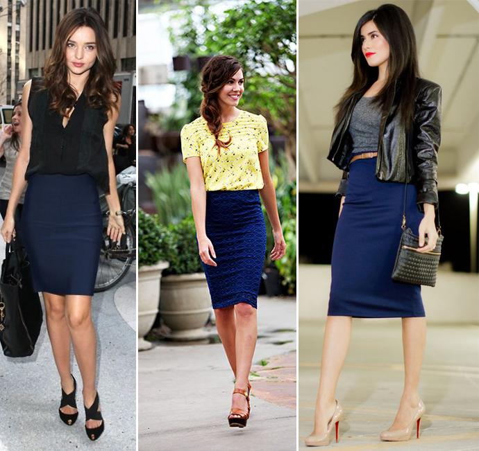 синяя юбка-карандаш в сочетании с голубой блузкой