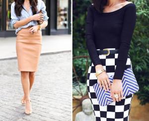 юбка-карандаш и блузка с овальным вырезом