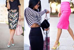 юбка-карандаш в сочетании с разными вариантами одежды и аксессуаров